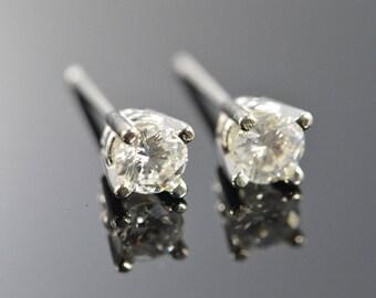 14k 0.50 Ctw H / SI2 Round Brilliant Diamond Stud Earrings Gold