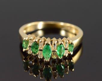 14k 1.00 Ctw Emerald & Diamond Waterfall Ring Gold
