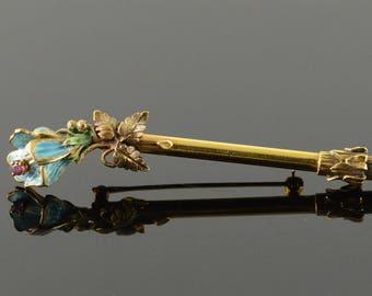 14k Art Nouveau Blue Enamel Flower Ornate Pin/Brooch Gold