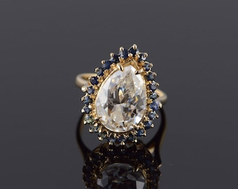 14k 5.50 CTW Pear CZ Sapphire Hollow Ring Gold