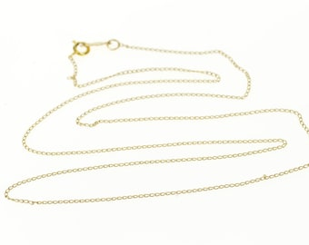 14k 0.9mm Cable Link Fancy Chain Necklace Gold 19.5""