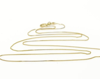 """10k 0.5mm Box Link Fancy Chain Necklace Gold 19"""""""