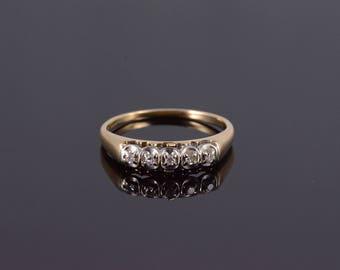 14k Five Stone Diamond Wedding Band Ring Gold