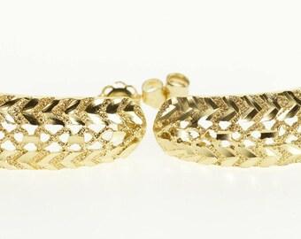 14k Diamond Cut Textured Patterned Semi Hoop Post Earrings Gold