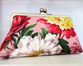 """Pink Yellow White Bright Peonies on Pink Vintage Barkcloth Fabric 8"""" Antique Brass Kisslock Frame Clutch Wristlet Crossbody Shoulder Bag"""