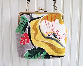 "Bright Yellow Green Red Gray Tropical Floral Flower Vintage Barkcloth Fabric 8"" Antique Brass Kisslock Frame Crossbody Shoulder Bag Purse"
