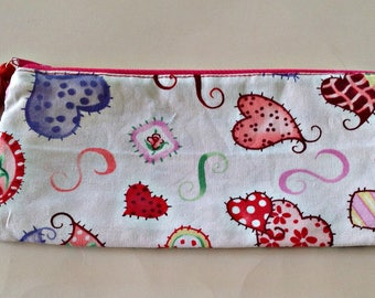 Heart Makeup Case, Crazy Art Hearts,Ghouls Eyes,Glow in Dark,Colorful,Artsy,Pencil Pouches,School Supplies,Gift for Boys,Gift for Girls