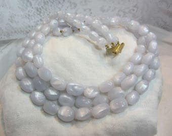 Vintage Shimmery Light Blue Lucite Bead Multi-Strand Necklace with Adjustable Length Clasp