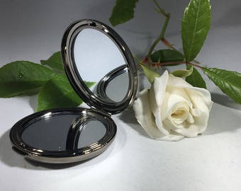 Personalised Back2Black round gunmetal handbag mirror in presentation box
