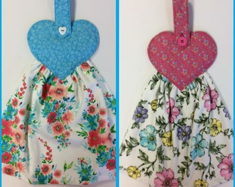 Spring Flowers Hand Towel/ Refrigerator Towel/Oven Towel/ Hanging Hand Towel/ Buttoned Handle/Heart Shaped Button