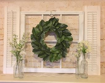 Old Window Frame, Shutters,  Magnolia Wreath, Farmhouse Decor, Grapevine Wreath, Fixer upper decor