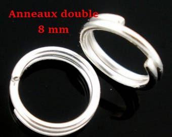 200 anneaux de jonction double argenté 8 mm
