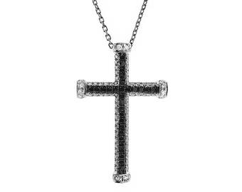 ID: 8391 Cross Pendant with Pavé Set Black Diamonds and White Diamonds in 14k White Gold