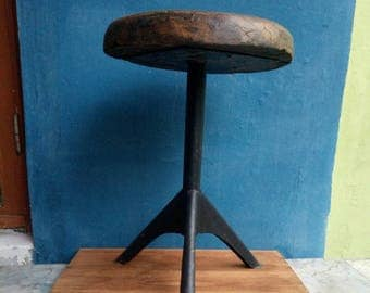Wood stool. Stool for living room. Industrial stool