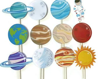 Space cupcake toppers - set of 12, space party, space theme, astronaut cake toppers, centerpiece