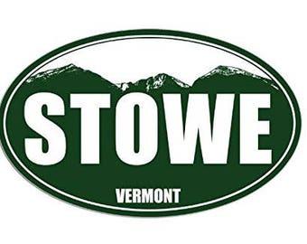 GREEN Oval STOWE Vermont Sticker (decal snow ski)