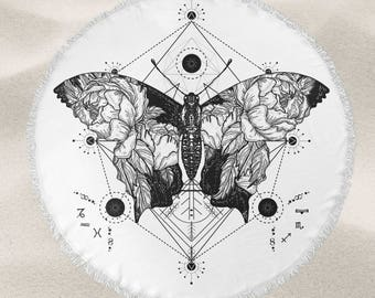 Vintage butterfly illustration over-sized round beach towel