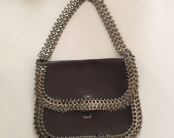 Paco Rabanne bag vintage leather and metal Paco Rabanne vintage bag leather and metal 70s collector