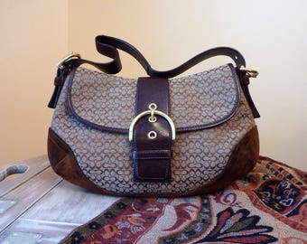 Classic Coach Purse/Handbag/Shoulder Bag / Quality Leather, Suede and Fabric / Brown and Beige / Outer Pocket and 2 Inner Pockets