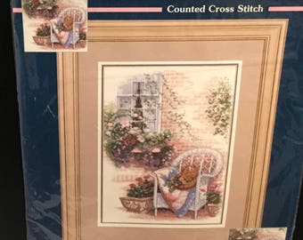 """SUNSET Perfect Patio Counted Cross Stitch Kit #13697 Window Flower Plants Basket White Chair  Donny Finley 10""""x14"""