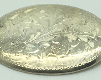 Sterling Silver Floral Etched Brooch Burkhard Birks  Victorian Style Flowers Engraved  Pin Gift For Mom Anniversary Birthday 60s