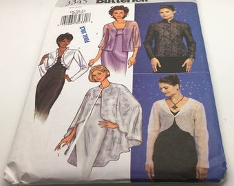 Butterick Sewing Pattern 3345 Sewing Pattern  Jacket Bolo Cape Short Shrug Wedding Bridesmaid Wedding Evening Formal Size 18 20 22