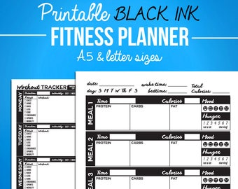 Printable Fitness Journal Black Diet Diary - Nutrition & Workout Bundle - A5 + Letter Sizes - Digital PDF - Weight Loss, Exercise Journal