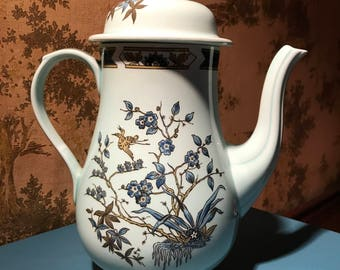 "Blue ""Ming Toi"" Adams Calyx Ware English Ironstone Coffee Pot, Vintage"