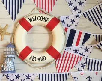 Nautical Fabric Bunting Banner, Party Decoration Summer Photo Prop Red White Blue Banner, 12 Flags