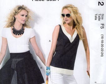 FREE US SHIP McCall's 6712 Generation Next Circle Wrap Skirt Top Blouse  Size 16 18 20 22 24 Plus Size Bust 38 40 42 44 46