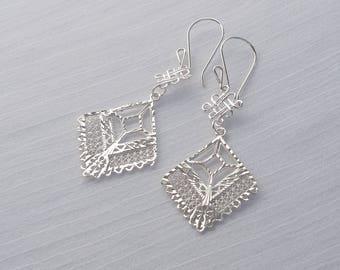 Sterling silver filigree diamond earrings