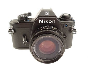 Vintage Nikon EM 35mm Camera - Nikkon 50mm 1:1.8 Lens - Film Camera - Retro Photography - New Battery Included