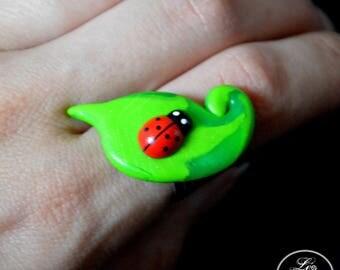 Ladybug on leaf spring ring
