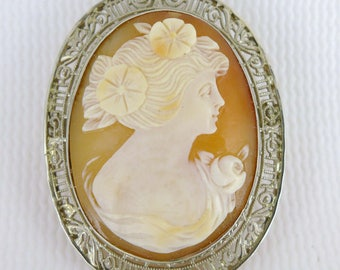 Gold Art Deco Shell Cameo, Vintage 14K White Gold Shell Cameo By Ostby And Barton, Cameo Pin Pendant, Filigree Frame Cameo, White Gold Cameo