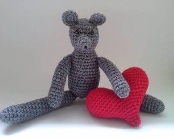 Mouse with a Red Heart, Crochet Mouse, Red Heart, Crochet Stuffed Mouse