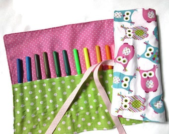 child to roll for pens and pencils, OWL pouch, pink blue polka dots