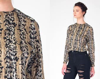 METALLIC 90s black and bronze LEOPARD print blouse Vintage 1990s STRIPED long sleeve button up back shirt Extra Small, Small, xs, s