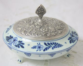 Vintage Delft Blue Footed Trinket Box with Silver Plated Lid, Handpainted, Silfor Delftsch Blauw, Holland