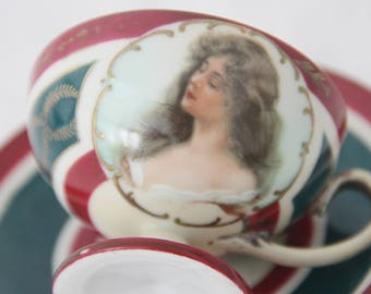 Beautiful Rare Antique Footed Demitasse Cup and Saucer, Handpainted Portrait Decor, MZ Austria