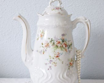 Lovely Vintage Brussels Porcelain Coffeepot, Flower Decor,  Custom Made, Le Pelican Rouge