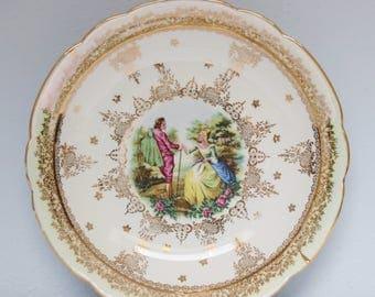 Lovely Vintage Porcelain Serving Dish, Victorian Couple Decor, Lustreware Rim, France