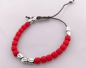 Handmade Slip Knot Bracelet With Precious Coral Beads