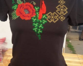 Ukrainian Embroidered T-shirt ( vishyvanka), with new original ornament ,short sleeve !!!