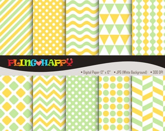 70% OFF Pale Green And Yellow Digital Papers, Chevron/Polka Dot/Wave/Stripe Graphics, Personal & Small Commercial Use, Instant Download