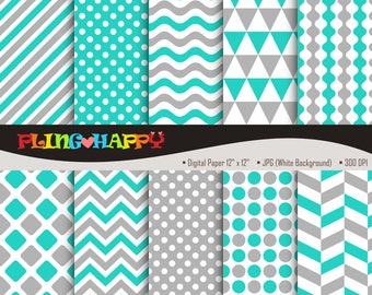 70% OFF Turquoise And Gray Digital Papers, Chevron/Polka Dot/Wave/Stripe Pattern Graphics, Personal & Small Commercial Use, Instant Download