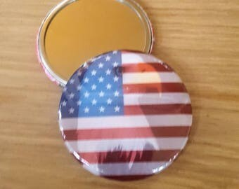 Mirror 4th of July American Flag Bald Eagle 58mm 2.25 inch pocket mirror
