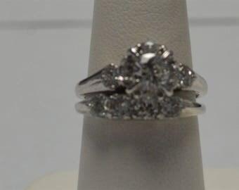 Estate White Gold Diamond Engagement Ring with Matching Diamond Band