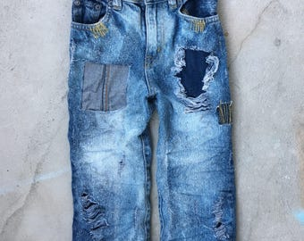 3T Toddler Boy Custom Distressed/Patched Jeans