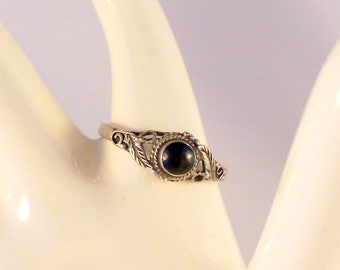 Navajo Sterling Silver Onyx Ring Size 8 Nice Applique Work Petite Ring Southwestern Jewerly Gift For Her