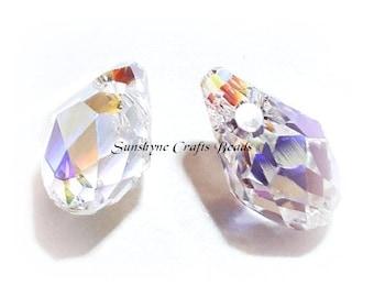 Swarovski Crystal 2 Pcs 6007 CRYSTAL AB Briolette Beads 9x5mm Briolette Faceted Pendant